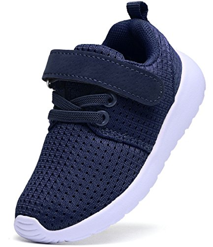 (DADAWEN Boy's Girl's Casual Light Weight Breathable Strap Sneakers Running Shoe Navy US Size 8 M Toddler)