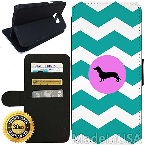 Flip Wallet Case for Galaxy S7 (Dachshunds Aqua Zig Zag) with Adjustable Stand and 3 Card Holders | Shock Protection | Lightweight | Includes Stylus Pen by Innosub