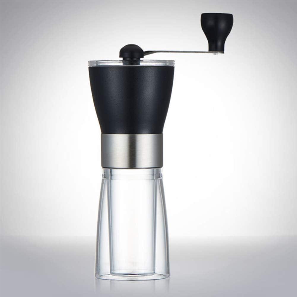 Z/A Manual Amoladora Transparente Mini Mill Negro Es Compacto Y Ajustable, Equipado con Acero Inoxidable Máquina De Café Molino De Mano De Cerámica Completamente Lavó