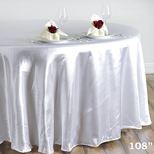 Efavormart 108″ White Wholesale Satin Round Tablecloth for Kitchen Dining Catering Wedding Birthday Party Events