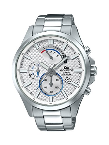 Casio Men's 'Edifice' Quartz Stainless Steel Casual Watch, Color Silver-Toned (Model: EFV-530D-7AVCF) (Chloe Model)