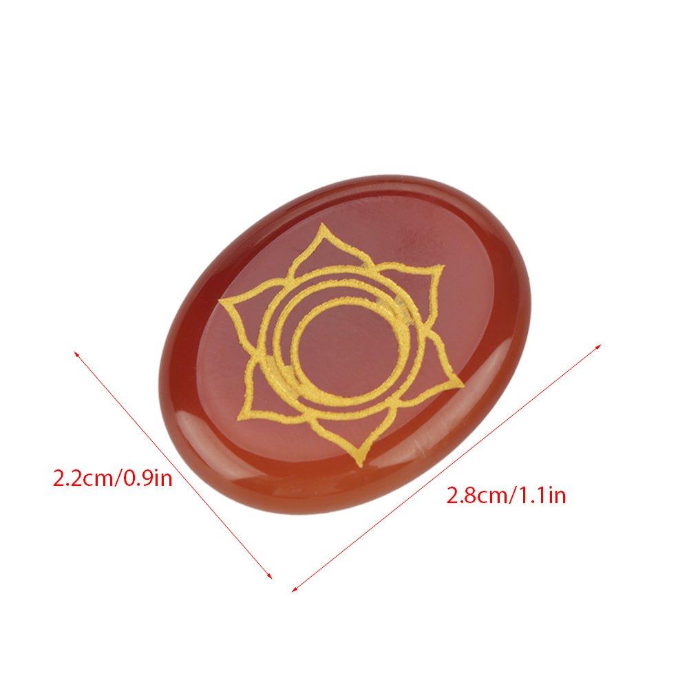 7pcs Engraved Spiritual  Meditation Palm Stones Reiki Chakra Energy