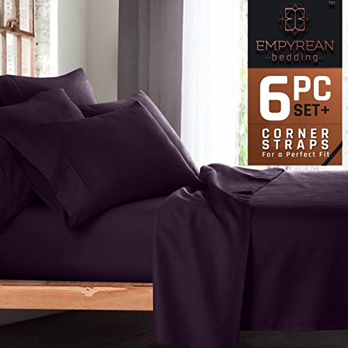 Premium 6-Piece Bed Sheet & Pillow Case Set – Luxurious & Soft Full (Double) Size Linen, Extra Deep Pocket Super Fit Fitted Purple Eggplant Sheets (Essential Home Comforter Set)