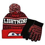 Disney Little Boys Cars Lightning McQueen Winter Beanie Hat and Gloves Set, Red, Age 4-7