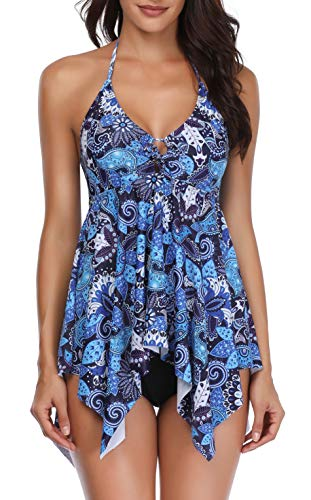 - Temptme Women 2 Piece Tankini Swimdress Halter Backless Tankini Top with Boyshorts Bathing Suit (Blue, XX-Large(fit Like US 18))