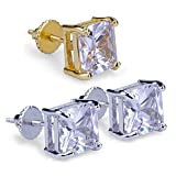 3 Pairs Set 4-8 mm Zirconia HIP HOP Iced Out Stud Earrings With Screw Back For Men and Women (White and Yellow Mixed 3 Pairs Set)