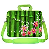 Meffort Inc 15 15.6 inch Green Color Matching Neoprene Laptop Bag Sleeve with Extra Side Pocket, Soft Carrying Handle & Removable Shoulder Strap - Bamboo