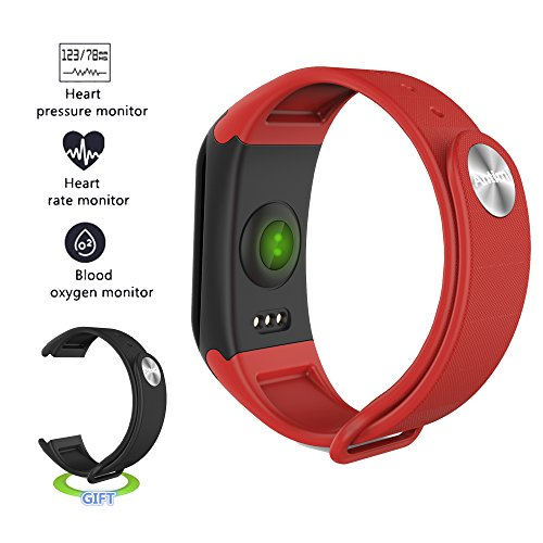 Antimi Fitness Tracker,Smart Watch IP67 Sweatproof Smart Band with Sleep Heart Rate Blood pressure monitoring blood oxygen monitoring Monitor Pedometer Bracelet for Android ios (Red)