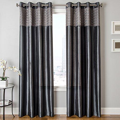Softline Home Fashions Vernetti Faux Silk Window Treatment/Curtain/Panel/Drape, Slate, 55 x 84