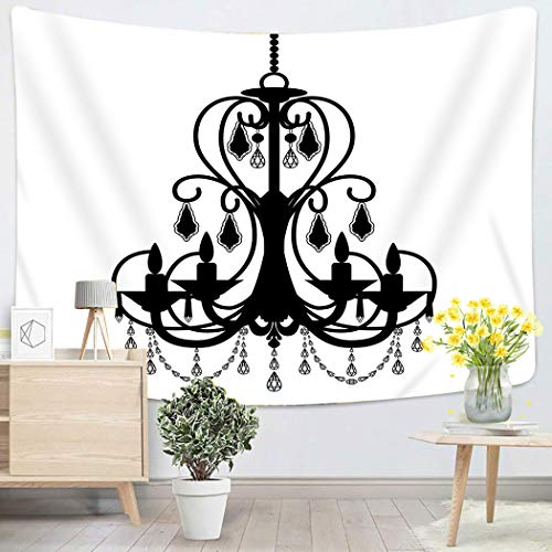 Houlor Tapestry Wall Hanging Ancient Chandelier Silhouette White Antique Baroque Black Candelabra Candle Art Chakra Polyester Home Decorations for Bedroom Dorm Decor 50 x 60 Inches