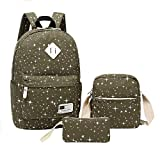Travel Laptop Backpacks Fashion Canvas Colorful Girls'School Backpacks Fashion Backpack Shopping Bags Backpack Shoulder Bag Pencil Case(Green)Boens