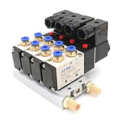 Baomain 4V210-08 DC 24V Single Head 2 Position 5 Way 4 Pneumatic Solenoid Valve w Base from Baomain