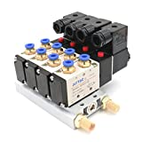 Baomain 4V210-08 DC 12V Single Head 2 Position 5 Way 4 Pneumatic Solenoid Valve w Base