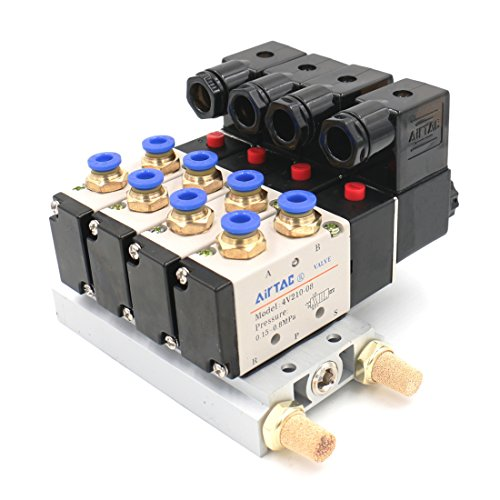 - Baomain 4V210-08 DC 12V Single Head 2 Position 5 Way 4 Pneumatic Solenoid Valve w Base