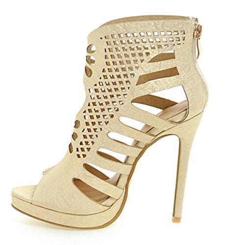 YE Damen Peep Toe High Heels Plateau Cut Out Sommer Stiefeletten mit Lochmuster und Reißverschluss Ankle Boots Schuhe KeEIDB