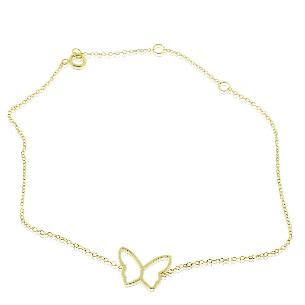 925 Sterling Silver Yellow Gold-Tone Cut-out Butterfly Anklet Bracelet, 11''