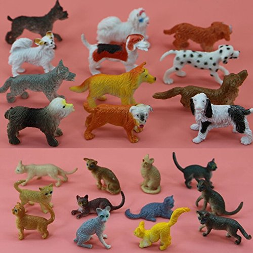 Lot 24pcs plastic Animal Small figure Toy Model Lovely 12pc Cat + 12pc dog