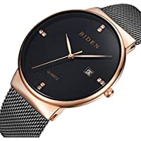 Mens Watches with Black mesh Band Casual Business Wristwatch Waterproof Simple Wrist Watches with Date Display (Black Gold Diamoud)