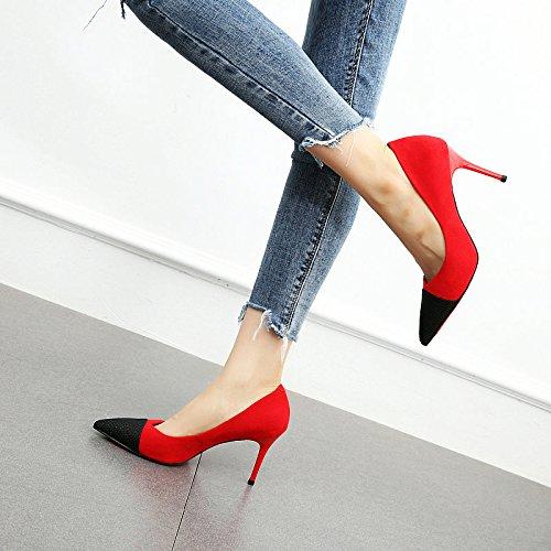 de Moda Zapatos Alto coincidentes Gamuza Color con tacón de Sexy black Zapatos Alto de YMFIE de los tacón de Pp6w8IqvW