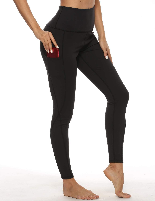 XL GUIIFER Pantaloni da Yoga con Tasche,Leggins Sportivi da Donna Vita Alta Allenamento Leggings Fitness Palestra Pantaloni Sportivi