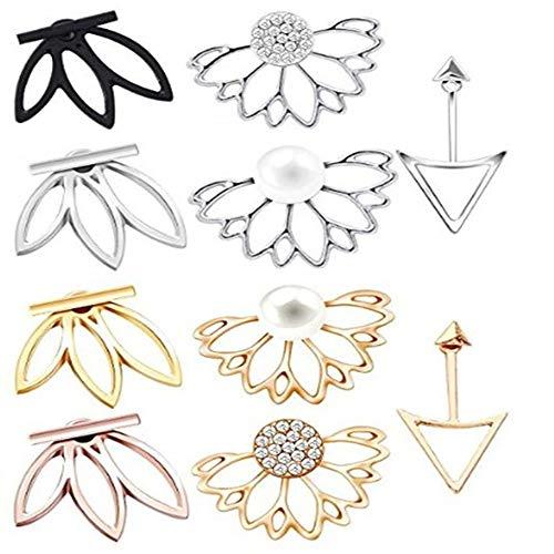 QHiYan 10 Pairs Ear Jacket Stud Lotus Flower Earrings Simple Chic Earring Set for Women and Girls (Earring Jacket Set)