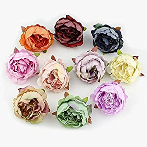 Peony flower Fake Flower Heads for Crafts Bulk Head Silk Artificial Flowers Party Home Decor Wedding Decoration DIY Decorative Wreath Fake Flowers Festival Decor 15 Pieces 5cm (Beige) 2