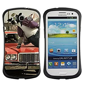 Hybrid Anti-Shock Bumper Case for Samsung Galaxy S3 / Abstract Cow Jumping