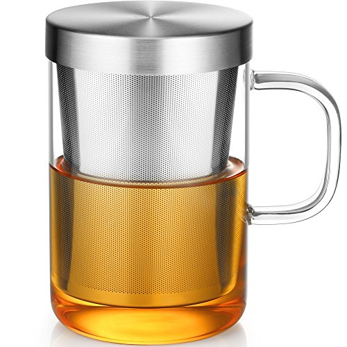 Ecooe Clear Glass Tea Mug Cup with Stainless Steel Infuser Lid for Loose Tea/Tea Bag 17 Ounce