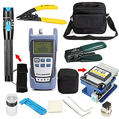 Gracefulvara Fiber Optic FTTH Tool Kit Set Power Meter Optical Cleaver Finder