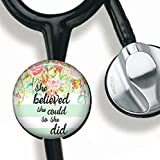 She Believed she Could so she did-Inspirational Quote Stethoscope Tag Personalized,Nurse Doctor Stethoscope ID Tag Customized, Medical Stethoscope Name Tag with Writable Surface-Black