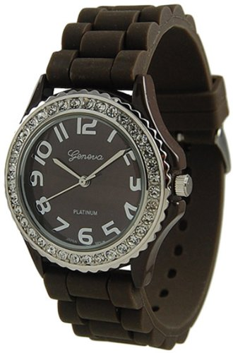 Geneva Platinum Womens 6886 Rubber Quartz Watch (Brown )