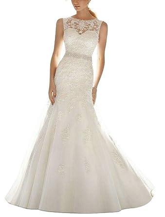 642c15e289f APXPF Women s Organza Lace Mermaid Wedding Dress Bride Gown Ivory US2