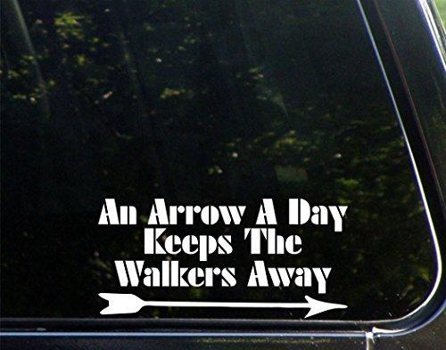 "An Arrow A Day Keeps The Walkers Away - 8""x 3 3/4"" - Vinyl Die Cut Decal / Bumper Sticker For Windows, Trucks, Cars, Laptops, Macbooks, Etc."