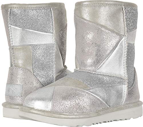 UGG Girls' K Classic Short II Patchwork Fashion Boot, Silver, 2 M US Little Kid