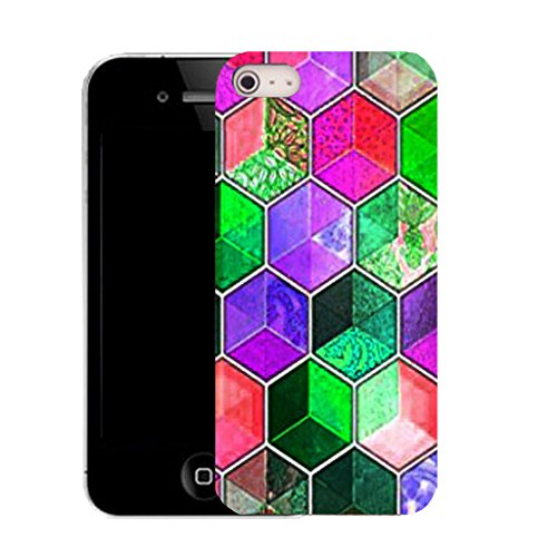 Mobile Case Mate IPhone 5 clip on Silicone Coque couverture case cover Pare-chocs + STYLET - coloured hexagon pattern (SILICON)