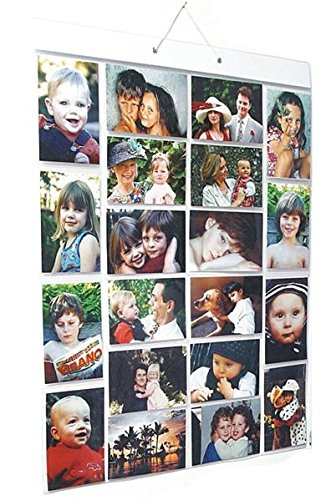 Thinking Gifts Picture Pockets Photo Hanging Display, 40 photos in 20 pockets, Large, Clear, 1 unit (PPL ) (Pocket Chart Ideas)