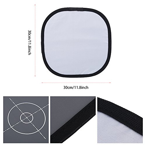 30cm Folding 18% Grey White Balance Reference Card with Bag Photography Accessory by Yosoo (Image #2)