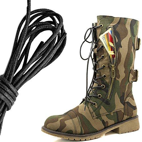 Botas De Combate De Hebillas Con Cordones Militares Para Mujer De DailyZapatos Botas De Cartas De Crédito Exclusivas De Media Rodilla, Ejército Clásico Negro