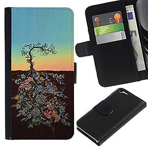 Be Good Phone Accessory // Caso del tirón Billetera de Cuero Titular de la tarjeta Carcasa Funda de Protección para Apple Iphone 6 4.7 // Sunset Art Metaphor Sky Stylistic