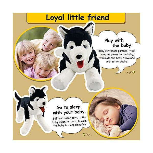 Houwsbaby Large Lifelike Husky Stuffed Animal Soft Dog Plush Toy Cuddly Alaskan Malamute Puppy Gift for Kids Boys Girls Pets Home Decoration Holiday Birthday, 27.5'' (Husky) 3