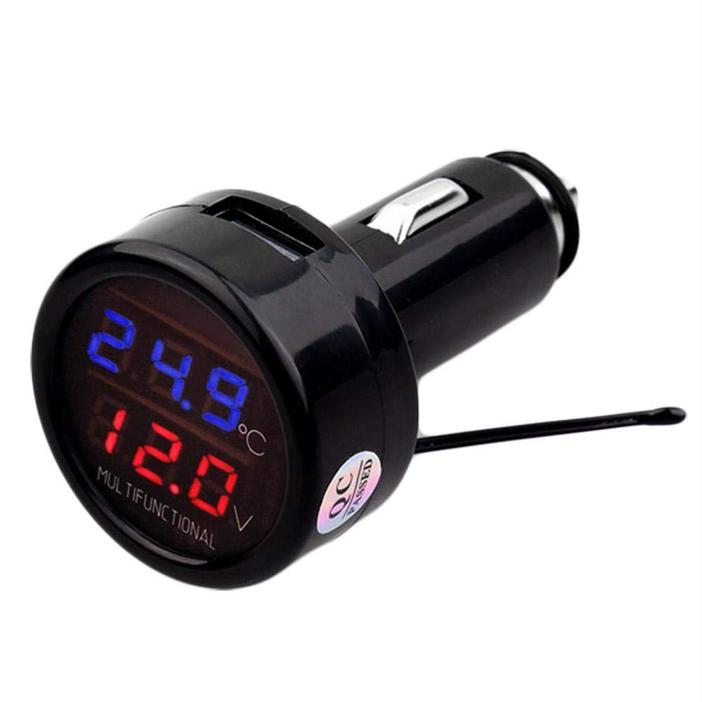 presentimer 3 in1 Term/ómetro de Coche Volt/ímetro Temperatura LED Digital Volt Temp Temperatura Mult/ímetro Probador Term/ómetro USB 2.1A Cargador de Coche indicador de Temperatura USB Cargador de Coche