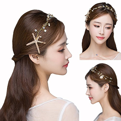 Bodermincer 1Pcs Starfish Headband Manual Mermaid Mermaid Clothing Accessories Pearl Bride Wedding Accessories Color Gold