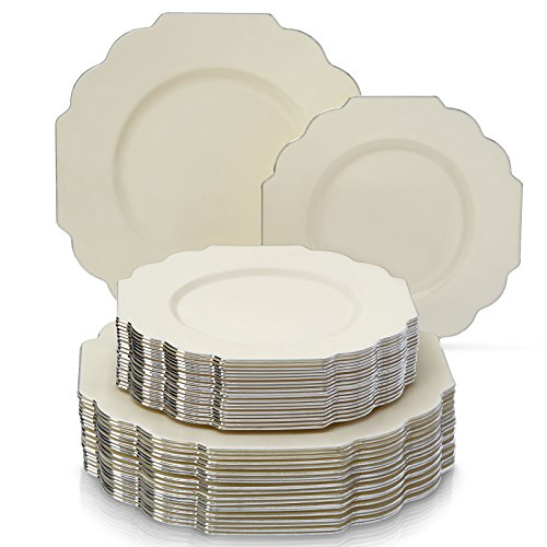 PARTY DISPOSABLE 40 PC DINNERWARE SET | 20 Dinner Plates | 20 Salad/Dessert Plates | Heavy Duty Disposable Plastic Dishes | Elegant Fine China Look | for Upscale Wedding and Dining (Baroque – Ivory) for $<!--$36.99-->