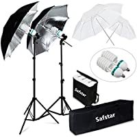 Safstar Photography Photo light kit 400W Day Light White/Black Umbrella Continuous Lighting Kit for Portrait Photo Video Studio Shoot