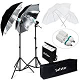 Safstar Photography and Video Day Light Umbrella Continuous Lighting Kit with Stands (4 umbrellas)