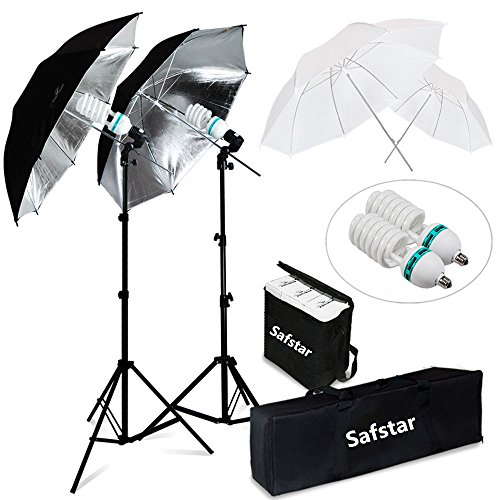 Safstar Photography and Video Day Light Umbrella Continuous Lighting Kit with Stands (4 umbrellas) by S AFSTAR
