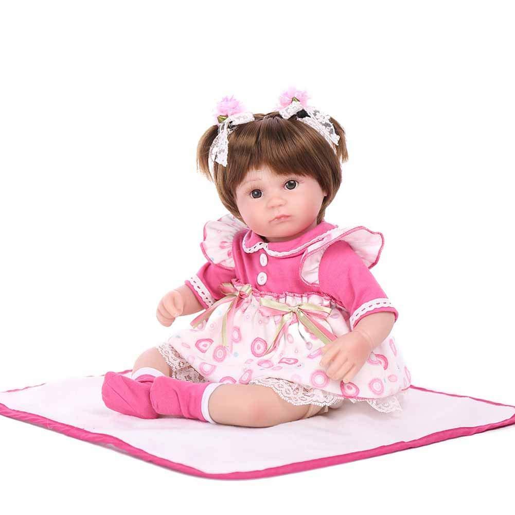 CHENG Neugeborenes Baby-Puppen-Mädchen-voller Körper-Silikon 17 Zoll Modepuppe mit Kleidung