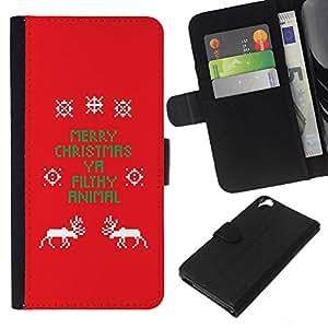 Leather Etui en cuir || HTC Desire 820 || La Navidad divertida del texto Red X Mas @XPTECH