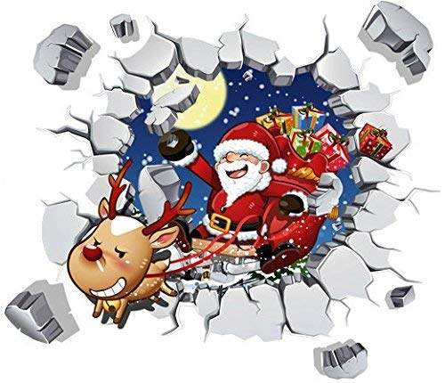 Cavepop Christmas Window Clings, Xmas Wall Sticker Decals, Holiday Window Decorations, Christmas Window Clings Kids, Christmas Stickers Window, Christmas Window Clings Set - Santa Reindeer