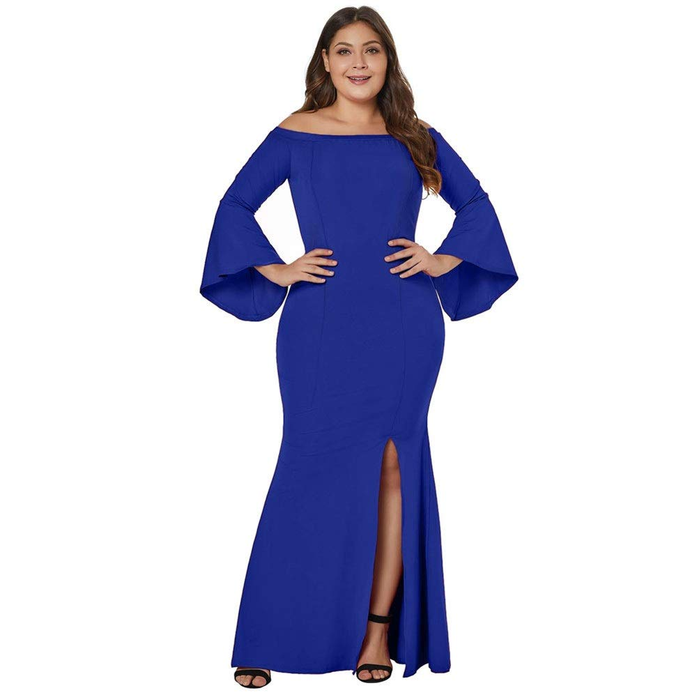 bluee Womens Party Dress Women's OffTheShoulder HighWaist Skirt SplitCollar Horns LongSleeved XL Dress (color   bluee, Size   XXXL)